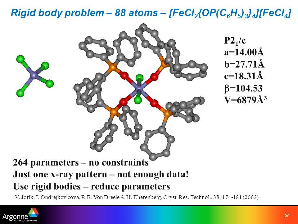 Rigid body problem – 88 atoms – [FeCl2{OP(C6H5)3}4][FeCl4]